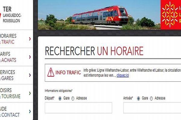Capture d'écran du nouveau site TER Languedoc-Roussillon
