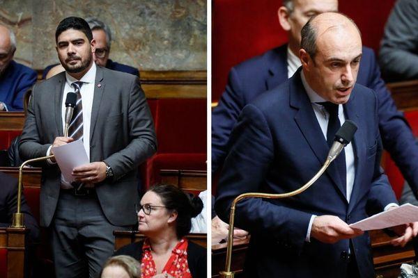 A gauche, le député LREM Guillaume Kasbarian, à droite le député LR Olivier Marleix.
