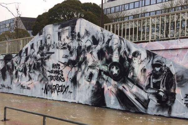 La fresque contre la répression, bd Doumergue à Nantes