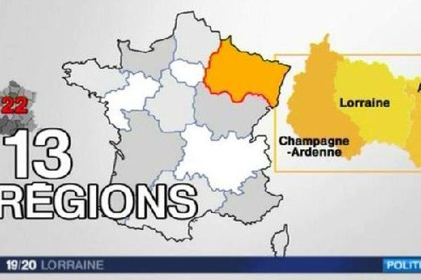 La carte des 13 régions