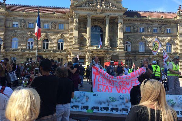 Manifestation d'opposants au grand contournement ouest de Strasbourg, le 8 septembre dernier.