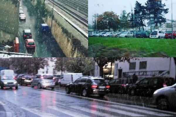 De la neige en région parisienne (captures d'écran Twitter et Instagram).