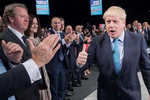 Le Premier ministre Boris Johnson au congrès annuel du Parti conservateur ce mercredi à Manchester.