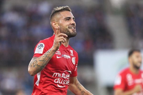 Joie de Andy Delort lors du match de football de L1 entre le Racing Club de Strasbourg Alsace et le Montpellier Hérault SC à Strasbourg le 20 avril 2019.