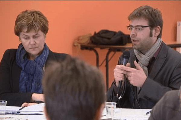 Dominique Voynet ne se représent pas à la mairie de Montreuil mais est venu soutenir Rudy L'Orphelin à Caen.