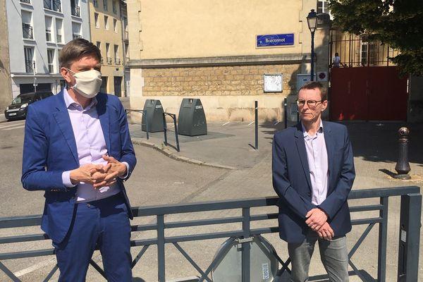 Après de longues discussions, Mathieu Klein (masqué) et l'écologiste Laurent Watrin ont trouvé un terrain d'entente pour le second tour des élections municipales.