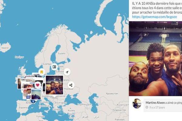 Une carte interactive créée par Wemap, jeune start-up montpelliéraine, spécialement pour l'Euro de basket