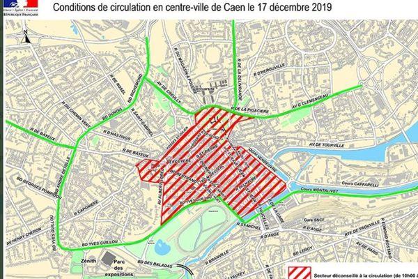 La carte diffusée par la Préfecture du Calvados, en rouge le secteur à éviter ce 17 décembre à partir de 10H.