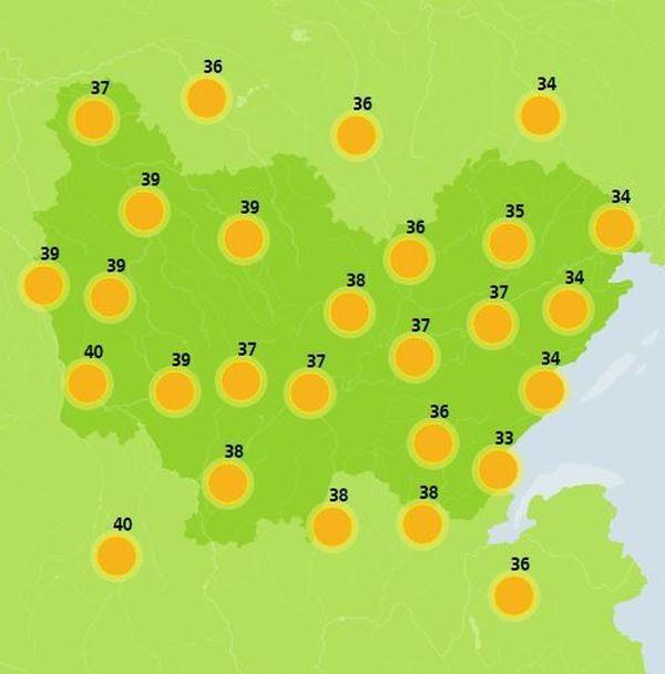 Carte des températures du jeudi 27 juin 2019