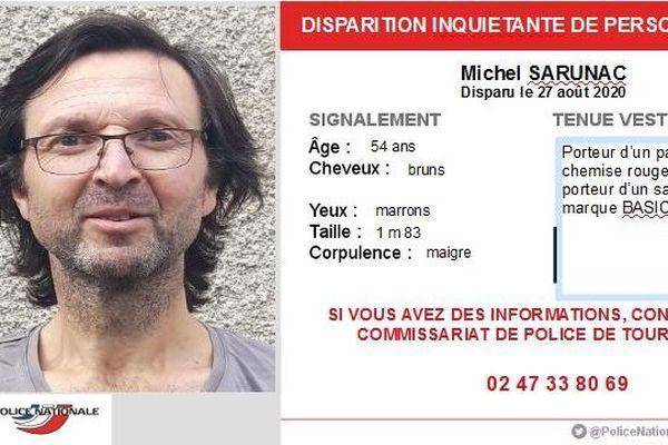 Michel Sarunac n'a plus donné signe de vie depuis le 27 août. Il habite à Tours.