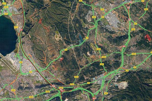 Gros bouchon sur l'A7 et l'A51 après deux accidents au Nord de Marseille