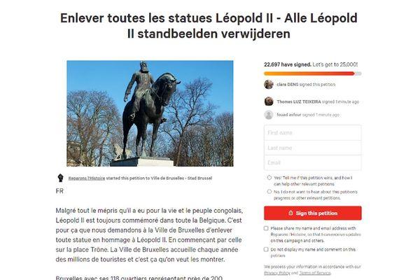 """Le groupe """"Réparons l'Histoire"""" a lancé mardi sur le site change.org une nouvelle pétition demandant d'enlever toutes les statues de Léopold II sur le territoire de la ville de Bruxelles."""