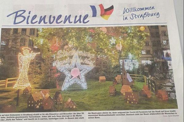 Pierre Bardet a fait publier dans la presse allemande une publicité vantant les commerces ouverts le dimanche de Strasbourg.