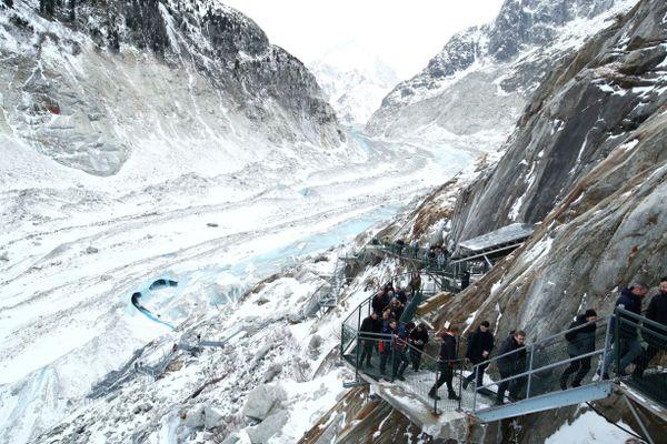 La mer de glace, à Chamonix, lors de la visite d'Emmanuel Macron, le 13 février.