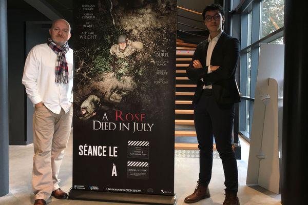"""A gauche, Emmanuel Alain, co-fondateur du D-Day Experience, à droite, Orian Ziad, réalisateur de """"A rose died in July"""""""