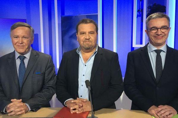 Sur le plateau de France 3 Auvergne, les 3 candidats pour l'élection municipale de Thiers : Eric Boucourt, Abdelhraman Meftah et Stéphane Rodier.