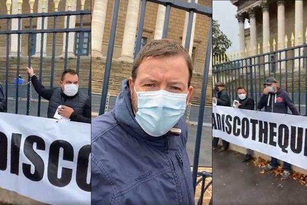 Matthieu, chef d'entreprise saint-lois, et plusieurs de ses collègues se sont enchaînés aux grilles de l'Assemblée nationale ce 29 septembre