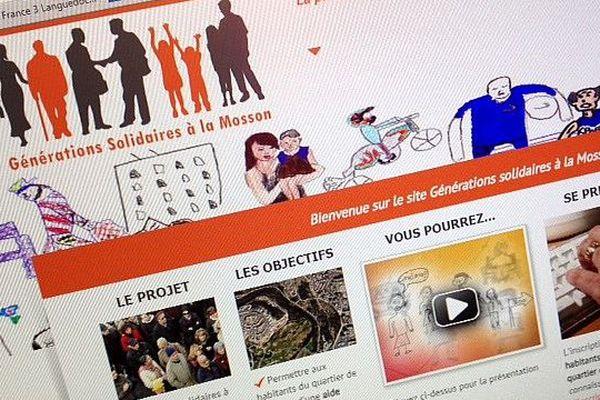 """La Une du site """"Générations Solidaires à La Mosson"""" lancé par l'association Pacim."""