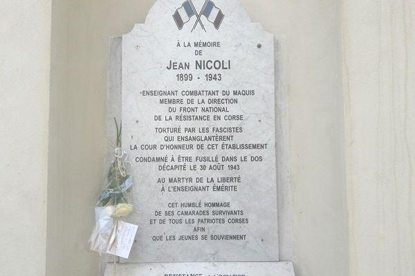 Bastia - La plaque commémorative à la mémoire de Jean Nicoli, exécuté le 30 août 1943