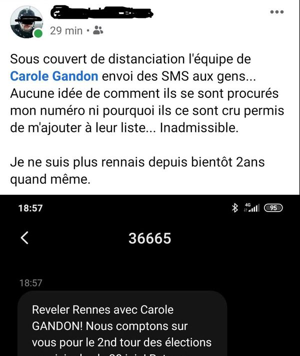 Mécontentement sur les réseaux sociaux suite aux sms reçu en faveur de Carole Gandon