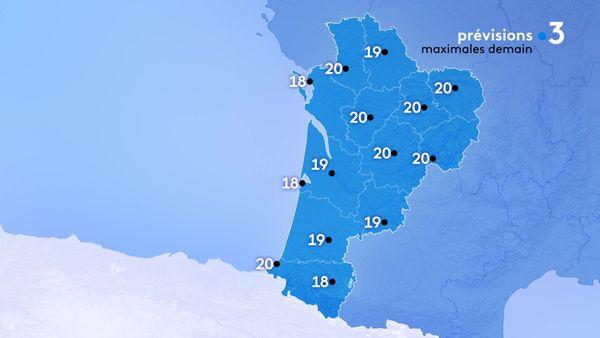 Les températures maximales seront comprises entre 18 degrés à Arcachon et la Rochelle et 20 degrés le maximum à Guéret, Niort, limoges, Angoulême, Brive, périgueux et Biarritz.
