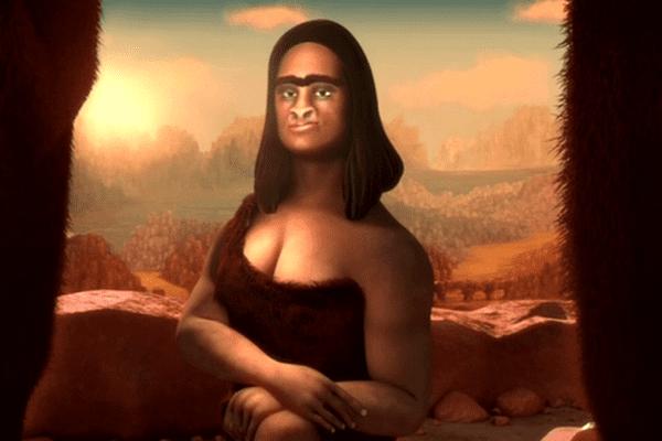 """La joconde du néolithique, personnage de """"Leonardo"""" film réalisé par cinq élèves de MOPA, l'école du film d'animation et de l'image de synthèse d'Arles"""