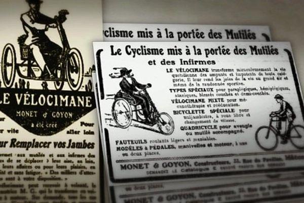 Le vélocimane, tricycle actionné avec les mains a été inventé  par la firme Mâconnaise Monet & goyon, qui pendant la première guerre mondiale s'est spécialisée dans les véhicules pour malades, blessés et mutilés.