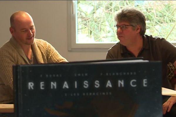 """Emem et Fred Duval et devant, leur dernier ouvrage intitulé """"Renaissance""""."""