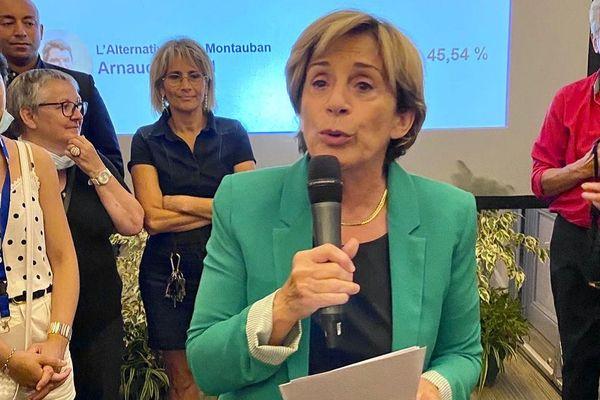 Brigitte Barèges, s'exprimant à l'issue du second tour des élections municipales, ce dimanche 28 juin.