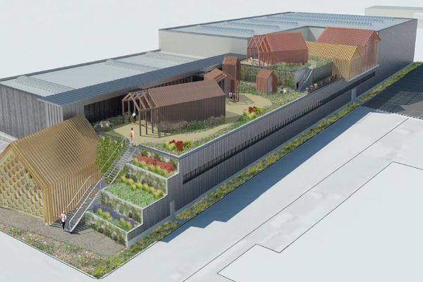 La nouvelle miellerie de la société Apidis : un bâtiment tout neuf de plus de 7 500 mètres carrés avec des toits végétalisés et un espace d'accueil du public.