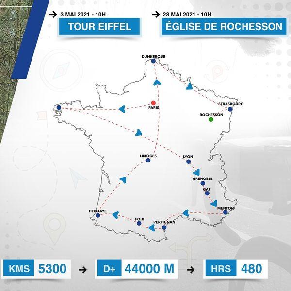 Pour réaliser son tour de France en moins de vingt jours, Stéphane Brogniart prévoit de rouler 260 kilomètres par jour.