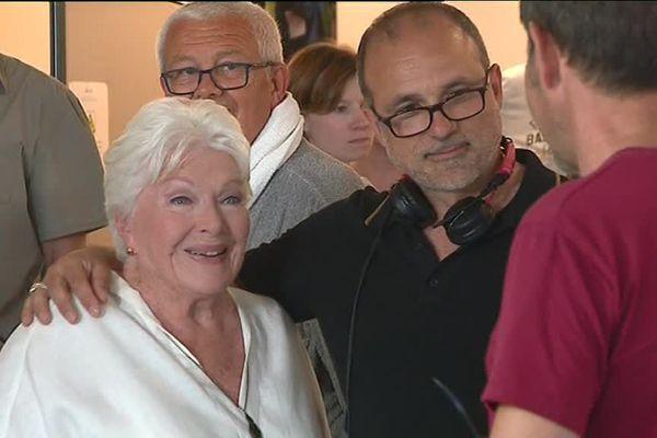 Line Renaud en tournage à Brides-les-bains.
