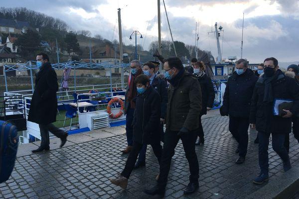 Annick Girardin sur les quais à Port-en-Bessin le 7 janvier 2021