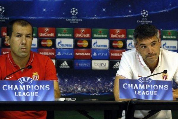 Conférence de presse ce lundi pour le coach monégasque Leonardo Jardim (à gauche) et son joueur Jeremy Toulalan.