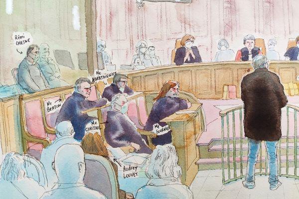 Les accusés et la défense au procès de l'assassinat de la grotte sanglante de Sète devant la Cour d'Assises de l'Hérault - janvier 2021.