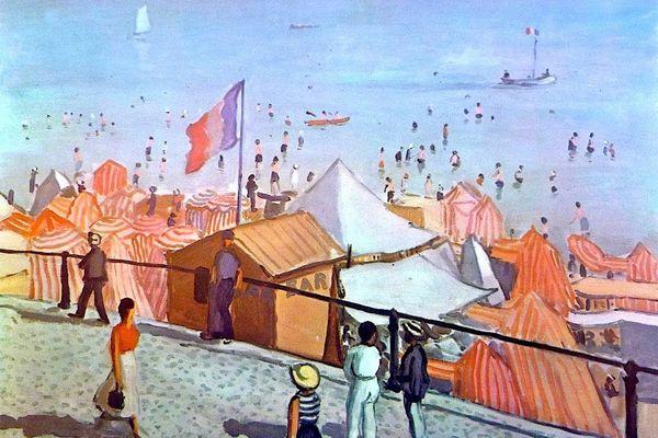 """""""L'été à la plage"""" (1933) œuvre du peintre Albert Marquet désormais visible en """"grand"""" sur le pignon d'un immeuble des Sables-d'Olonne"""