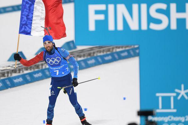 Martin Fourcade lors du finish de la course de biathlon en relais mixte le 20 février 2018 lors des Jeux olympiques de Pyeongchang en Corée du Sud.