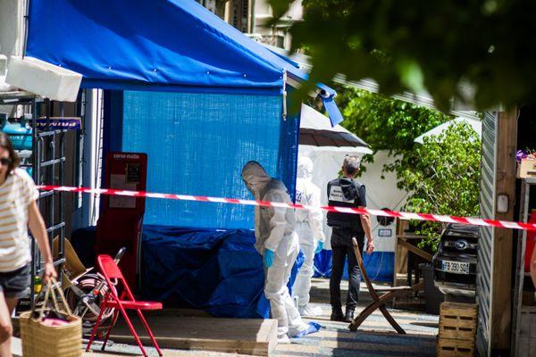 Les enquêteurs sur les lieux de l'assassinat d'Alexandre Giacopelli, le 18 juin 2020.