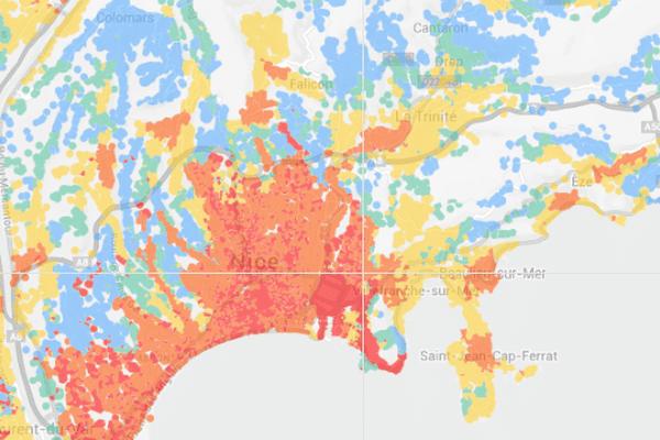 Pour découvrir le débit théorique maximum du quartier dans lequel vous vivez ou celui dans lequel vous travaillez, une carte !