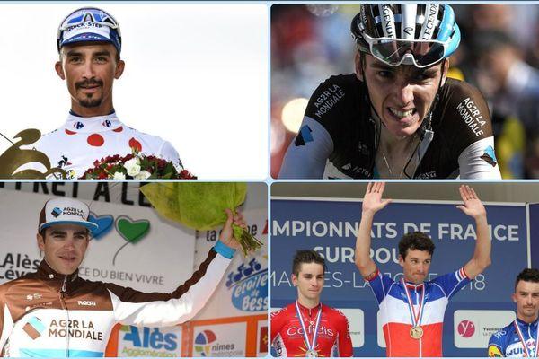 (De haut en bas et de gauche à droite) Julian Alaphilippe, Romain Bardet, Tony Gallopin et Anthony Roux sélectionnés pour les championnats du monde de cyclisme 2018