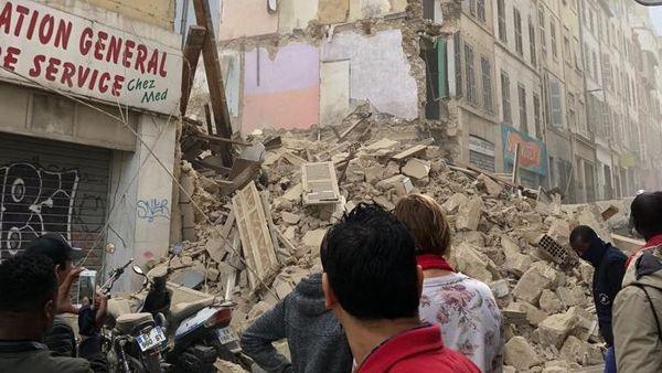 Premier immeuble effondré quartier de Noailles à Marseille