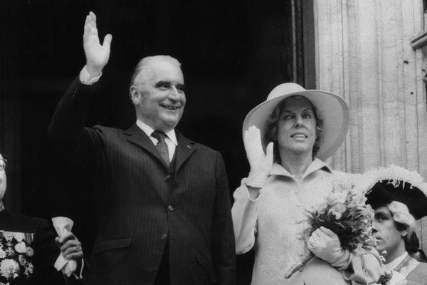 Georges Pompidou et sa femme Claude Pompidou en visite en Belgique en mai 1971.