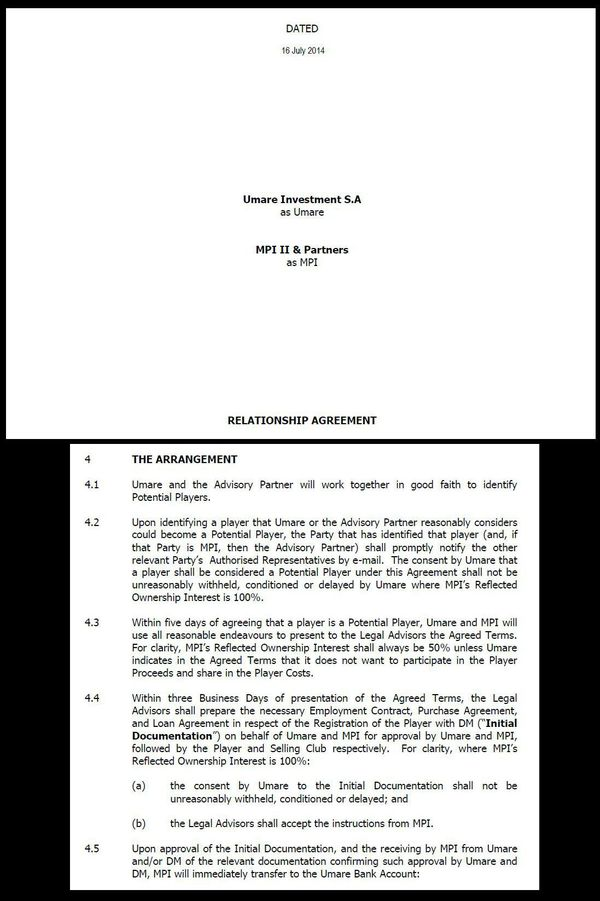 Extraits du contrat entre MPI II & Partners et Umare.