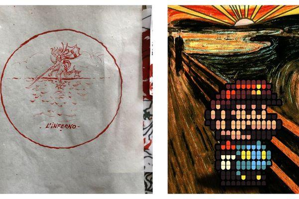 """A gauche : """"L'inferno"""" d'Anne et Patrick Poirier. A droite : """"En attendant la vague"""" de Speedy Graphito (d'après """"Le cri"""" de Edvard Munch). Deux des oeuvres à gagner lors du tirage au sort."""