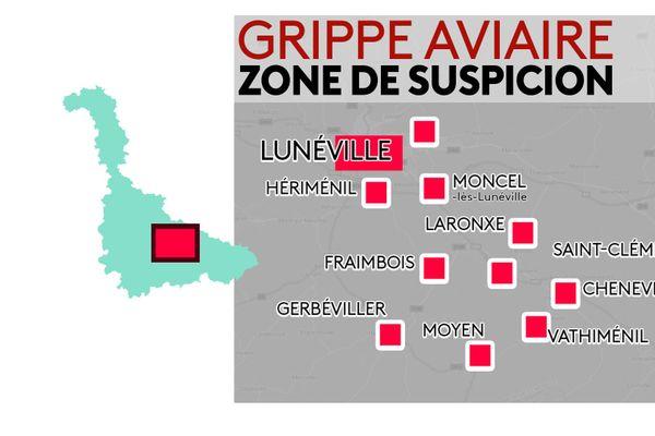 Les communes dans le Lunévillois concernées par la grippe aviaire
