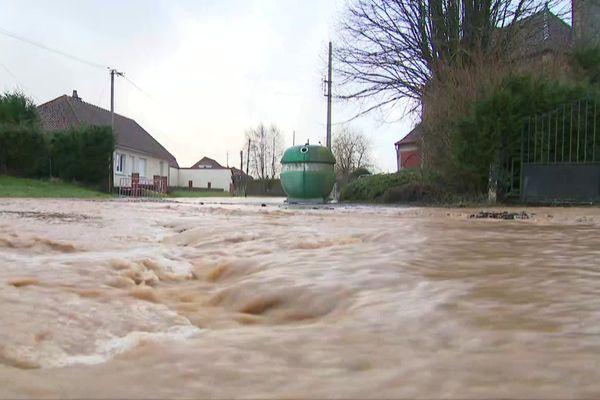 Auchy-lès-Hesdin, dans le Pas-de-Calais, a été frappé par des inondations dans la nuit de jeudi à vendredi 29 janvier 2021.