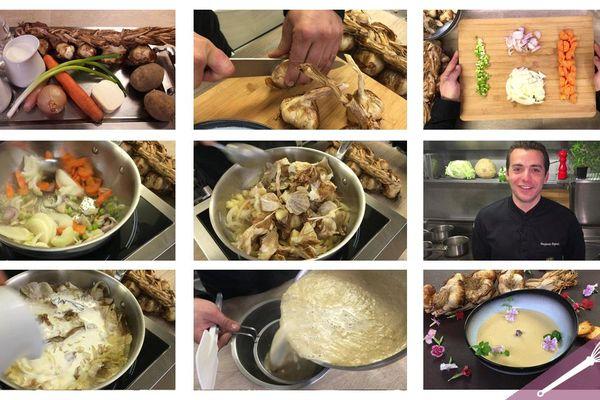 Les étapes de la recette du velouté d'ail