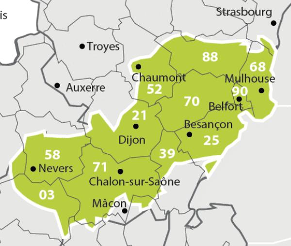 Les zones concernées par le changement de fréquences du 23 mai.