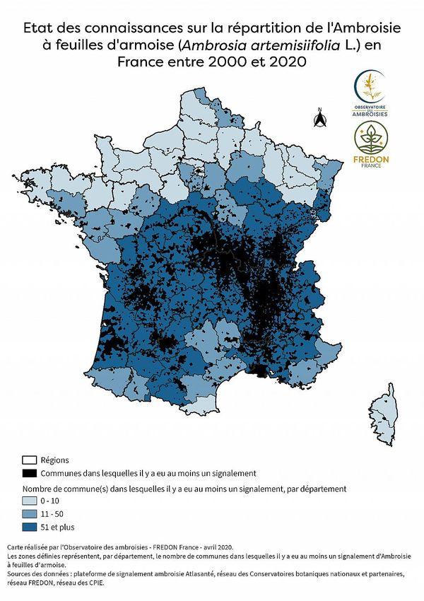 Sur cette carte, il est possible de voir le développement de l'ambroisie à travers la France.