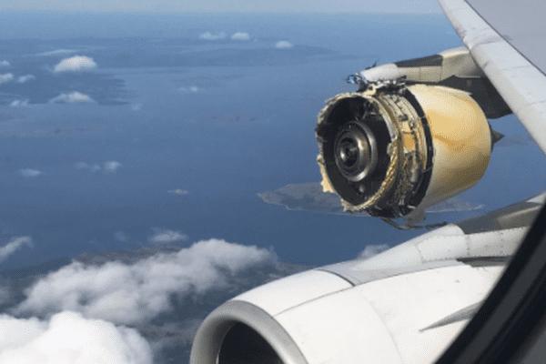 Le moteur du super jumbo A380 d'Air France photographié par l'un des passagers du vol Paris-Los Angeles